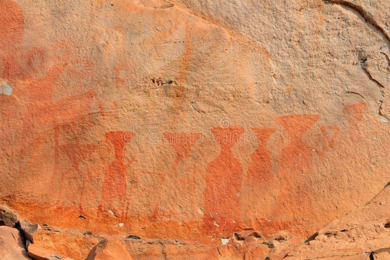 著名史前岩石绘画 库存照片