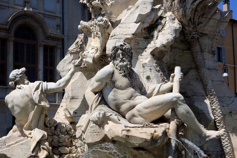 著名喷泉意大利navona方尖碑广场罗马 库存图片