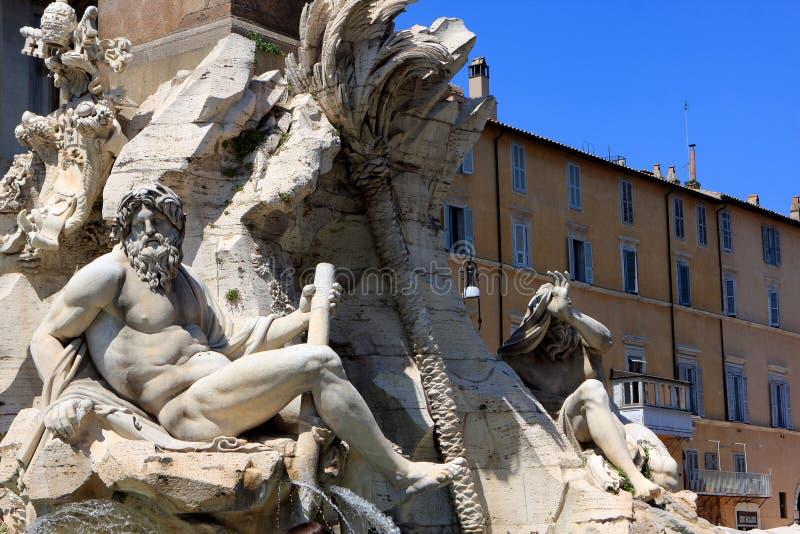著名喷泉意大利navona方尖碑广场罗马 免版税库存照片