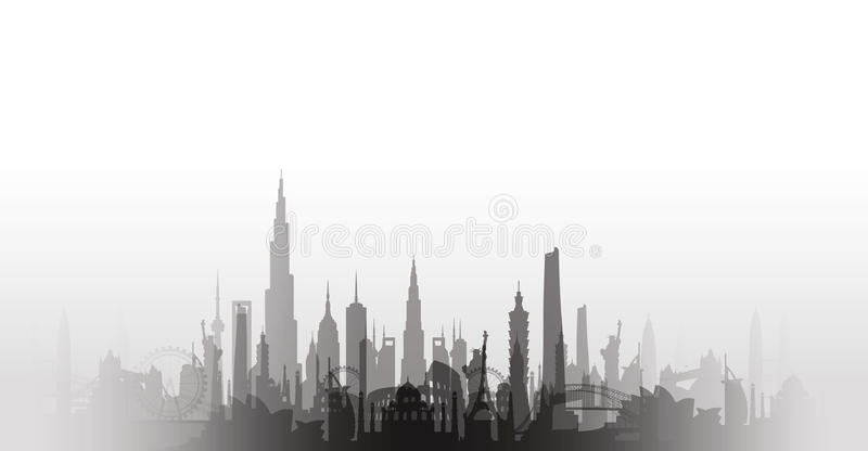 著名地标都市风景 库存例证