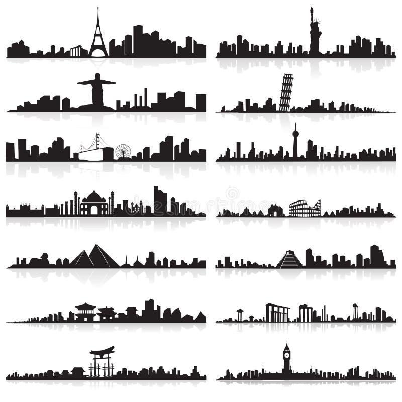 著名城市地平线  皇族释放例证