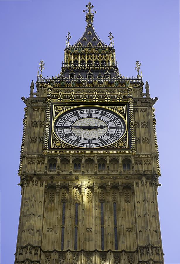 著名塔时钟大本在伦敦,英国 免版税库存照片