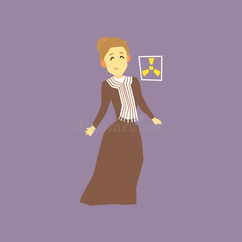 著名妇女科学家-玛丽・居里 两个放射性元素镭和钋的发现者 漫画人物 皇族释放例证