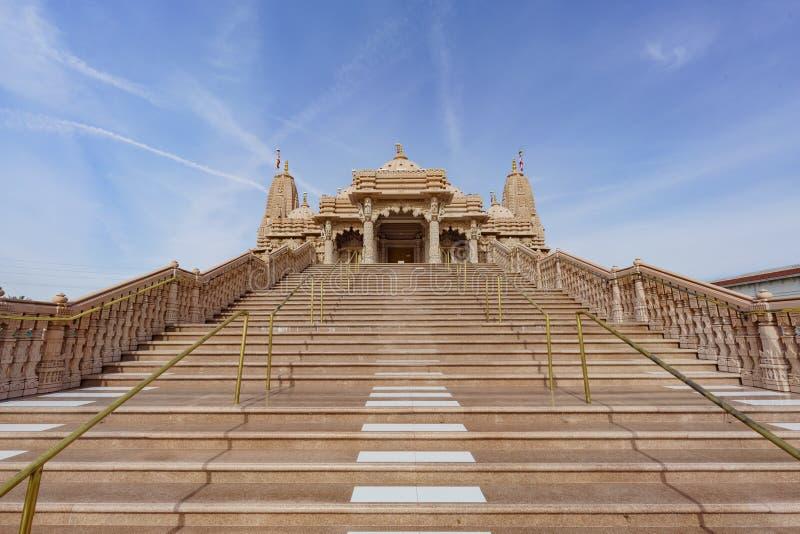 著名小面包Shri Swaminarayan Mandir的外视图 库存照片