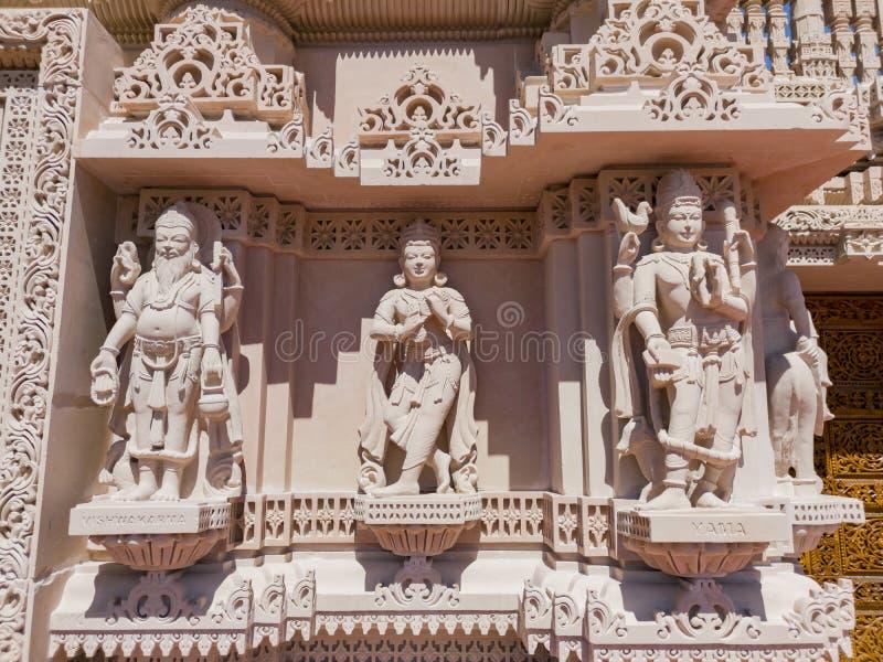 著名小面包Shri Swaminarayan Mandir的外视图 免版税库存照片