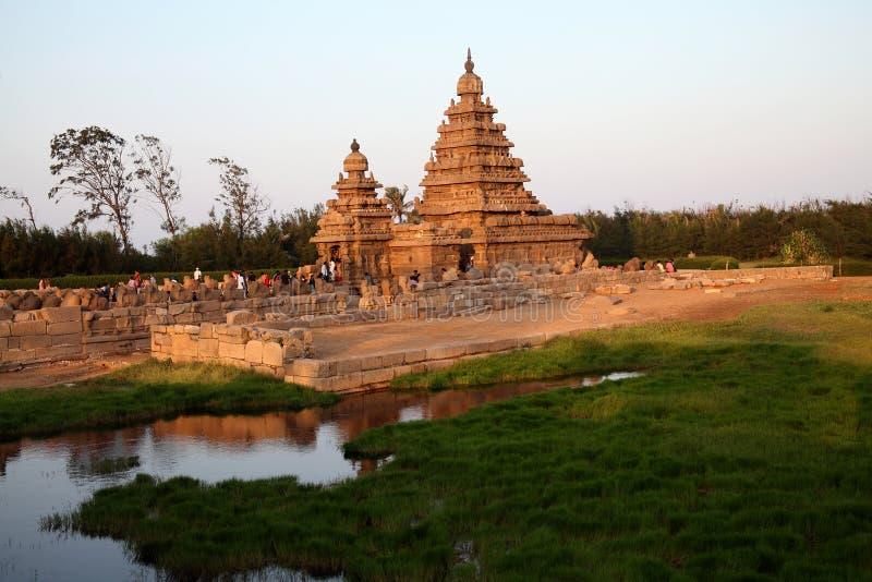 著名岸寺庙马马拉普拉姆,泰米尔纳德邦,印度 库存照片
