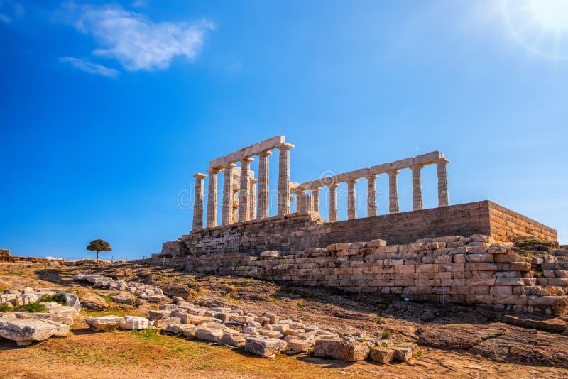 著名希腊寺庙波塞冬,海角Sounion在希腊 免版税库存图片