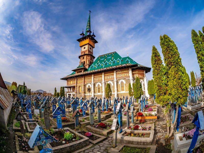 著名快活的喜悦公墓在Sapanta 免版税库存图片