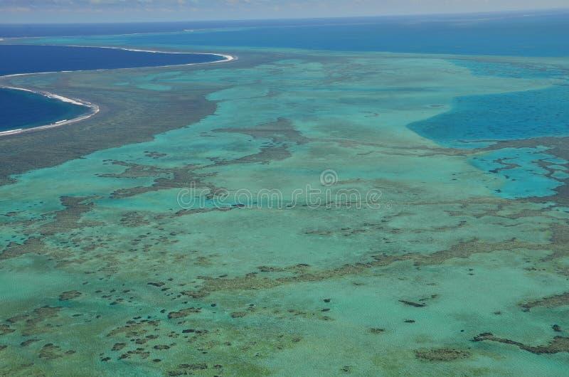 著名新喀里多尼亚盐水湖的鸟瞰图 库存图片
