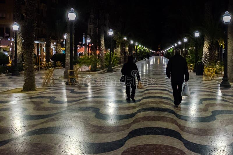 著名方形的La Explanada在阿利坎特西班牙 库存图片