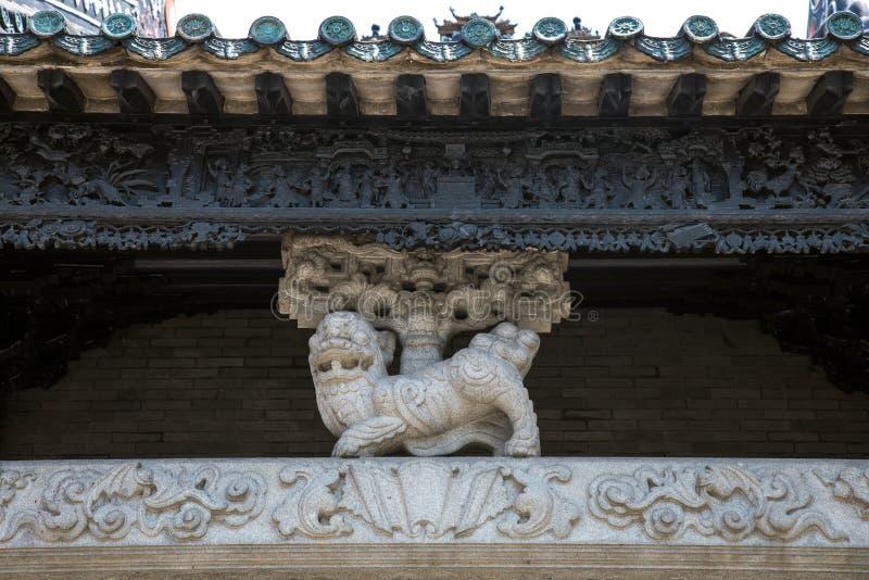 著名旅游胜地在广州市中国人陈祖先大厅,一部分里的建筑结构零件由组成坚硬gr 免版税库存照片