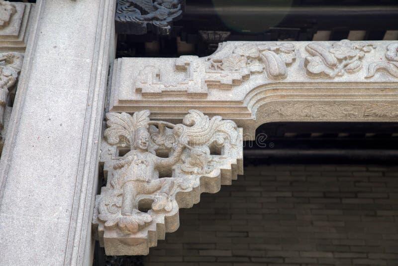 著名旅游胜地在广州市中国人陈祖先大厅,一部分里的建筑结构零件由组成坚硬gr 库存照片