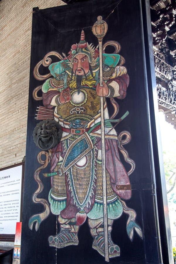 著名旅游胜地在广州,陈祖先大厅,在门的被绘的图 免版税库存图片