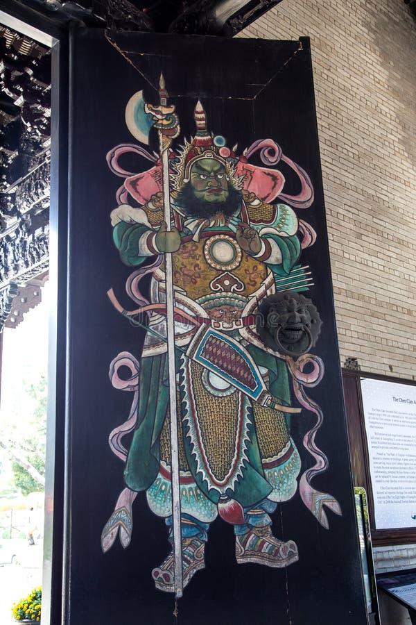 著名旅游胜地在广州,陈祖先大厅,在门的被绘的图 免版税库存照片