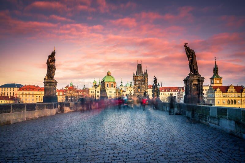 著名查理大桥和塔,布拉格,捷克 免版税库存照片