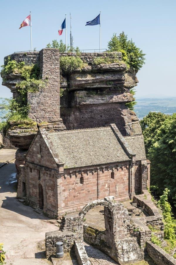 著名欧特巴尔城堡, Alsave, Saverne,法国 库存图片