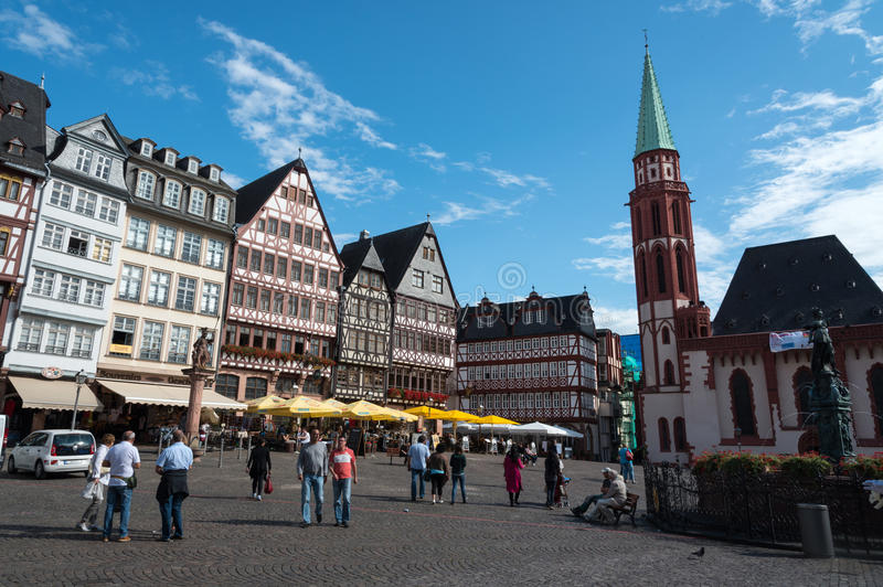 著名法兰克福Römerberg广场 库存图片