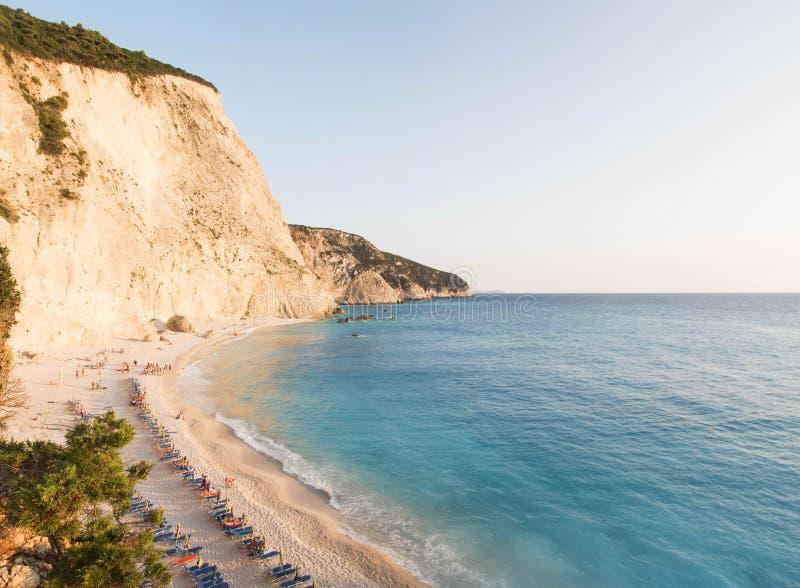 著名海滩波尔图katsiki的全景在希腊海岛莱夫卡斯州 库存照片