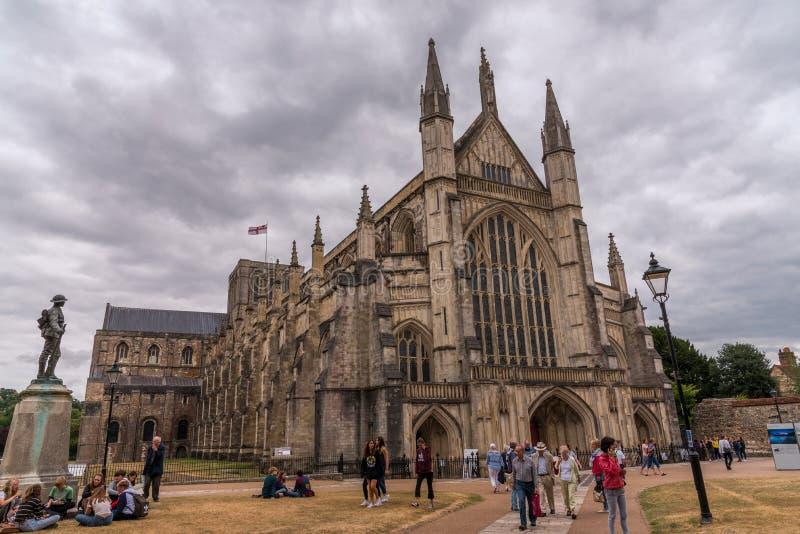 著名温彻斯特大教堂在英国 库存图片