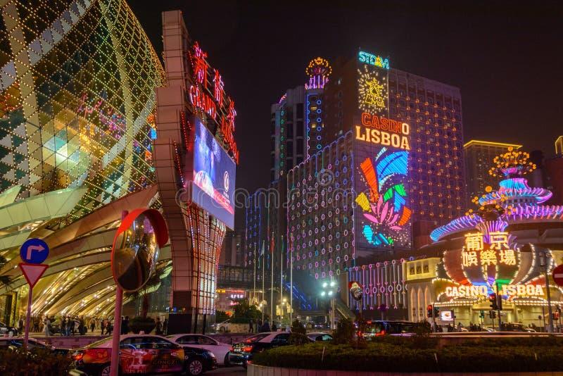 著名澳门赌博娱乐场在晚上 免版税库存图片