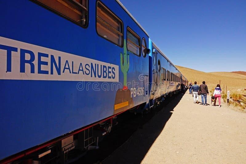 著名火车在萨尔塔,阿根廷 图库摄影