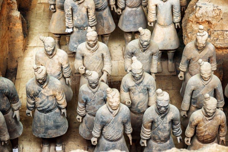 著名秦始皇兵马俑的赤土陶器战士顶视图  免版税库存图片