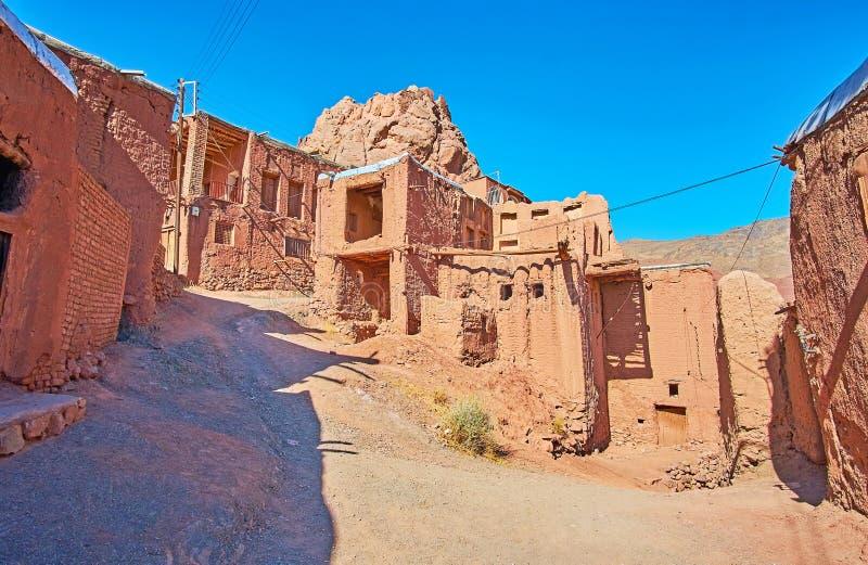 著名红色村庄,阿卜亚内赫,伊朗 免版税库存图片