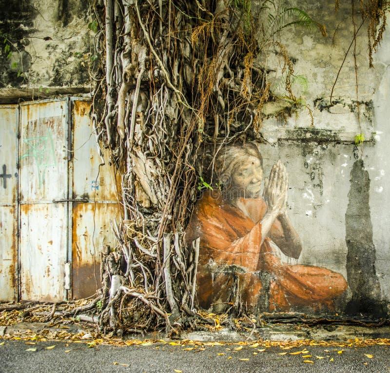 著名街道艺术在乔治市,槟榔岛,马来西亚 免版税库存照片