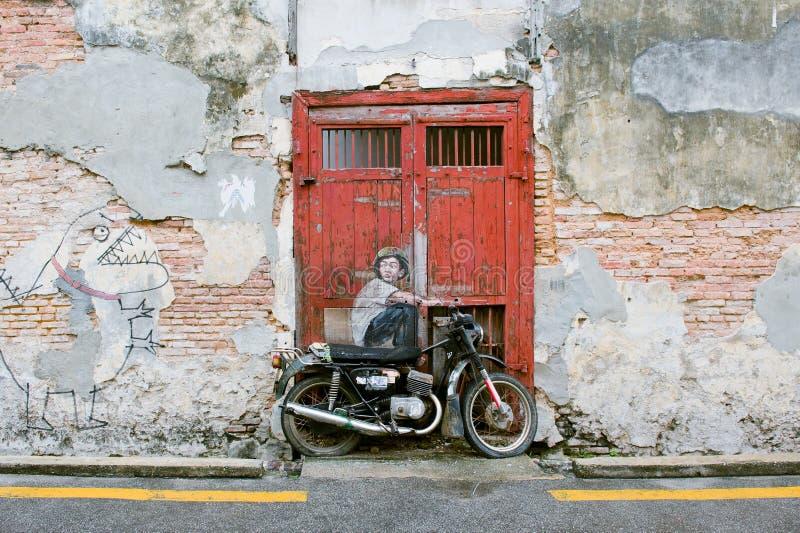 著名街道艺术壁画在乔治市,槟榔岛联合国科教文组织遗产站点,马来西亚 图库摄影