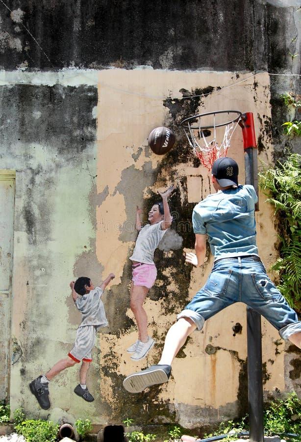 著名街道艺术壁画在乔治市 图库摄影
