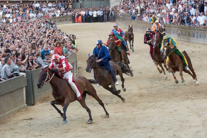 著名跑马` Palio二锡耶纳` 库存图片