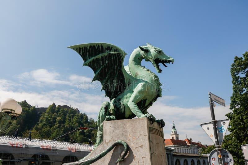 著名龙桥梁最Zmajski,卢布尔雅那的标志,斯洛文尼亚,欧洲的首都 库存图片