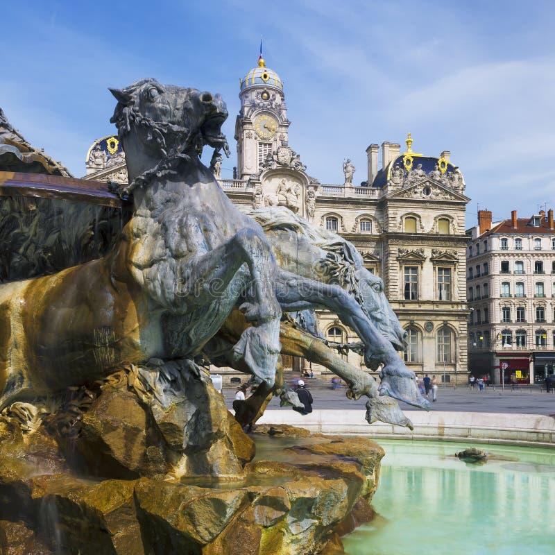 著名Bartholdi喷泉在利昂 免版税图库摄影