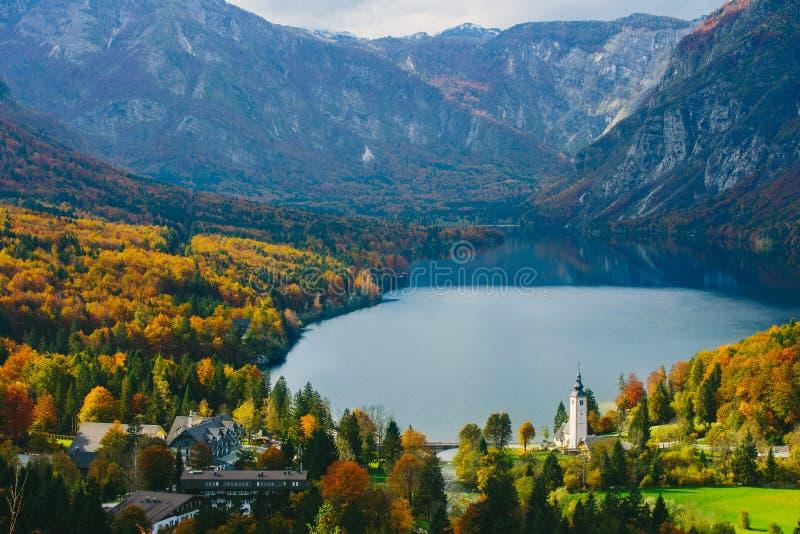 著名Bohinj湖的激动人心的景色从上面 免版税库存照片
