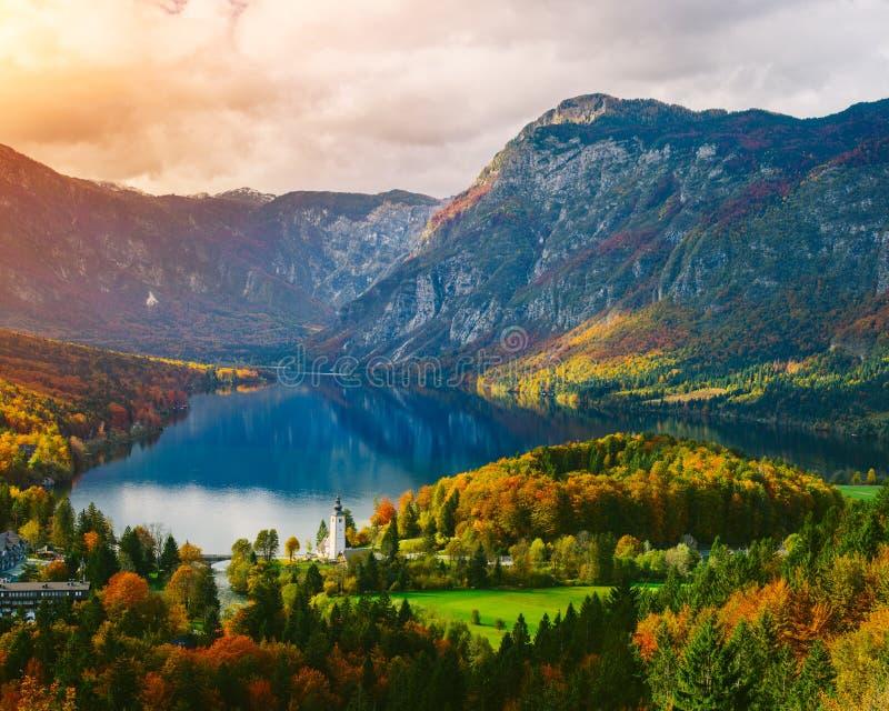 著名Bohinj湖的激动人心的景色从上面 免版税库存图片
