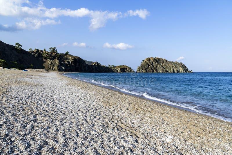 著名Cirali海滩在土耳其在地中海位于了 库存图片