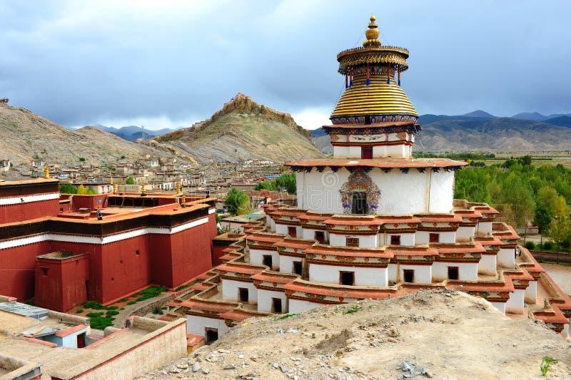 著名gyantse kumbum stupa西藏 免版税库存照片