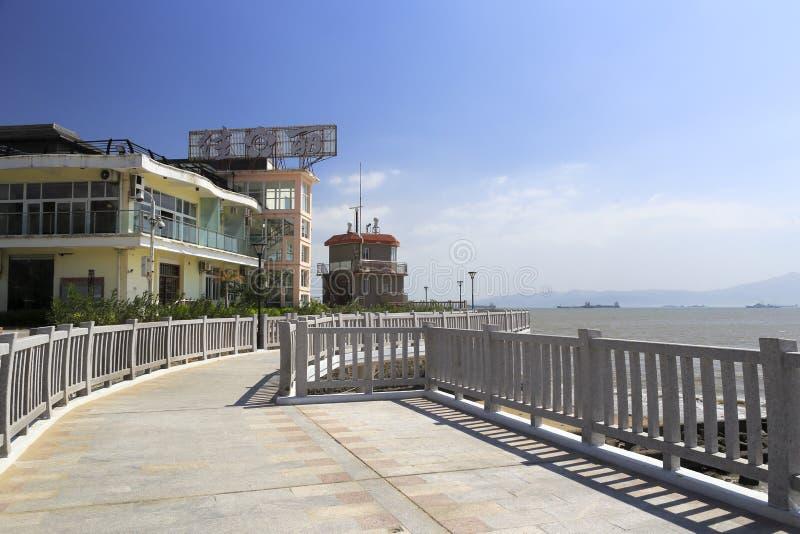 著名jiali海鲜餐馆在海边 库存照片