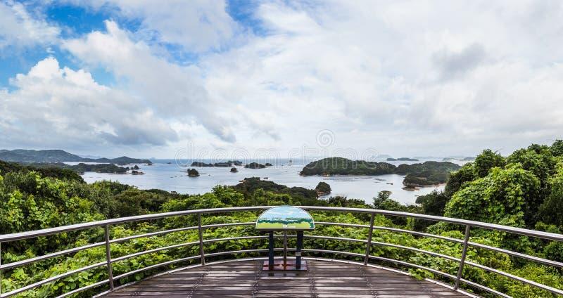 著名kujuku海岛在佐世保,九州俯视 图库摄影