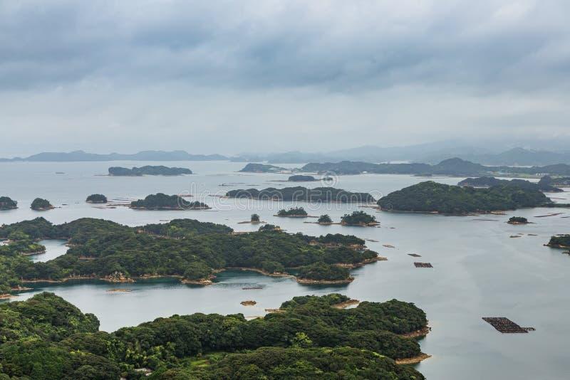 著名kujuku海岛在佐世保,九州俯视 免版税库存图片