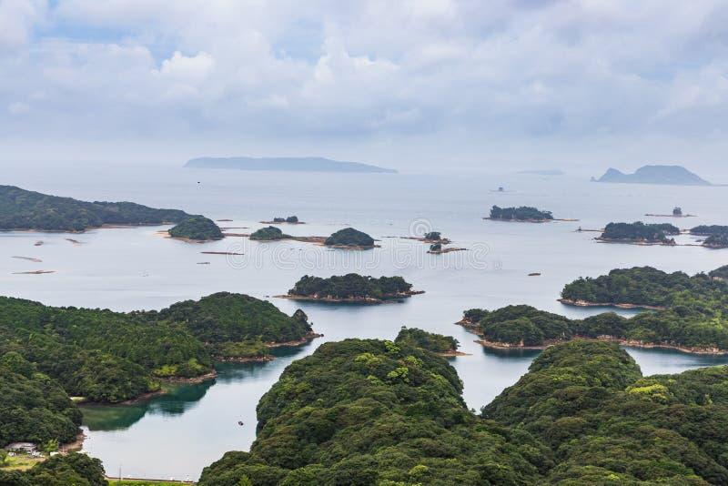 著名kujuku海岛在佐世保,九州俯视 免版税库存照片