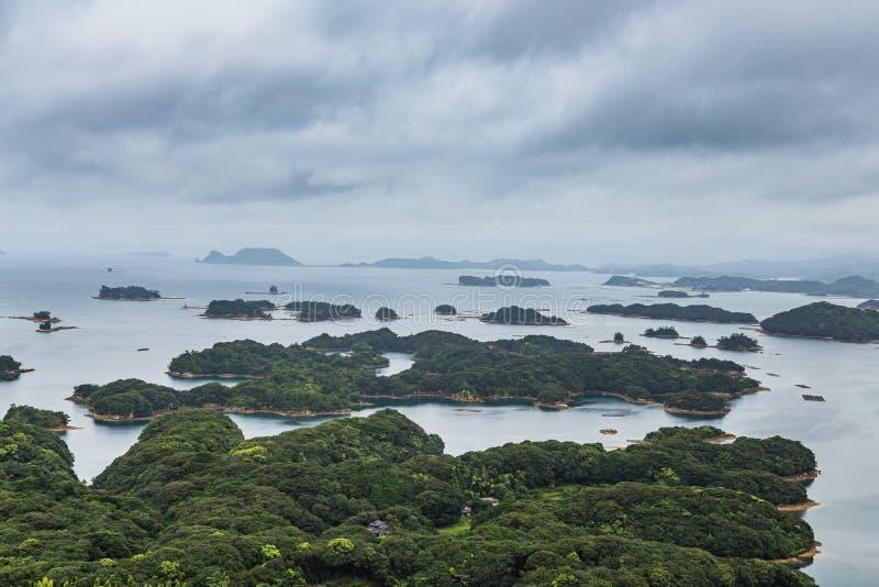 著名kujuku海岛在佐世保,九州俯视 库存照片