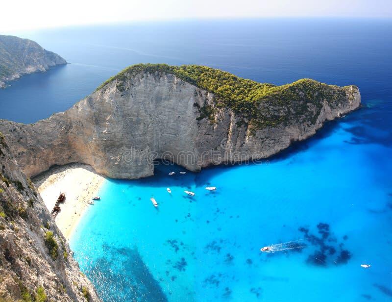 著名Navagio海滩, Zakynthos,希腊 免版税库存图片