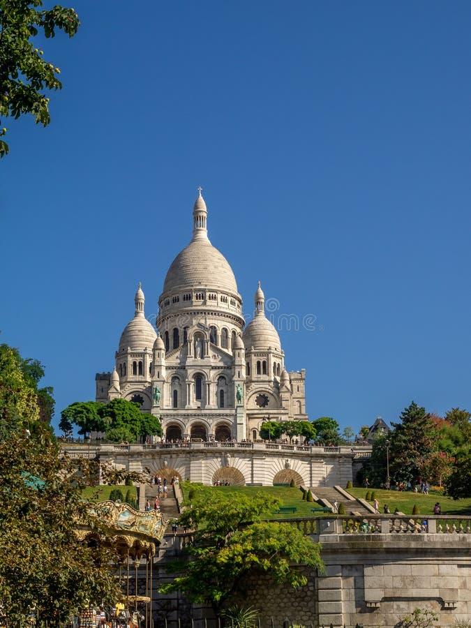 著名Sacre Coeur的看法 免版税库存图片