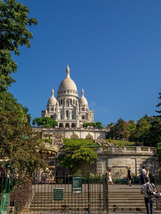 著名Sacre Coeur的看法 库存图片