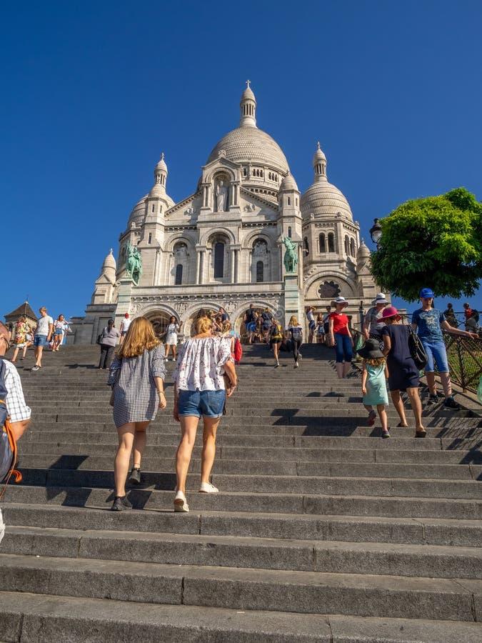 著名Sacre Coeur的看法 免版税库存照片