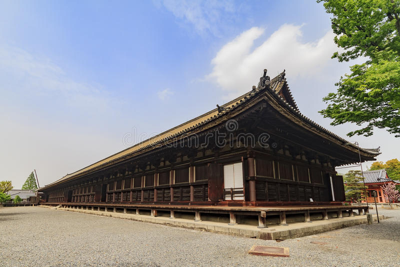 著名Sanjusangen寺庙 免版税库存照片