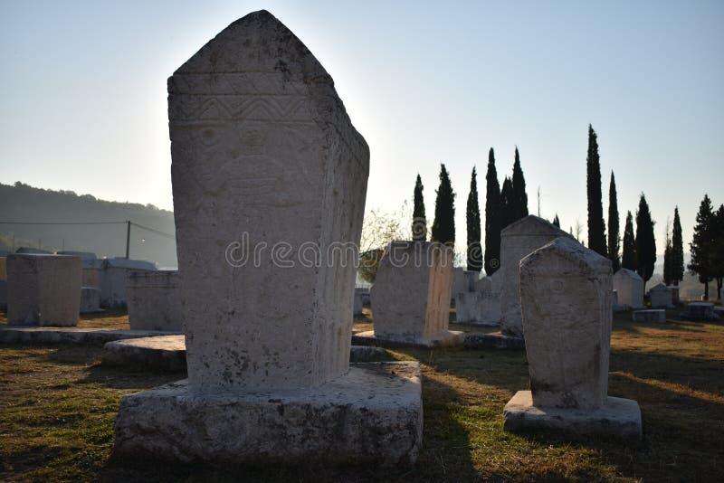 著名stecci在Radimlja中世纪大墓地 库存照片