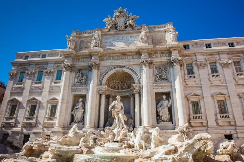 著名Trevi喷泉在1762年修造了在罗马 库存照片