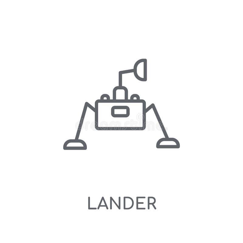 著陆器线性象 在白色的现代概述著陆器商标概念 向量例证